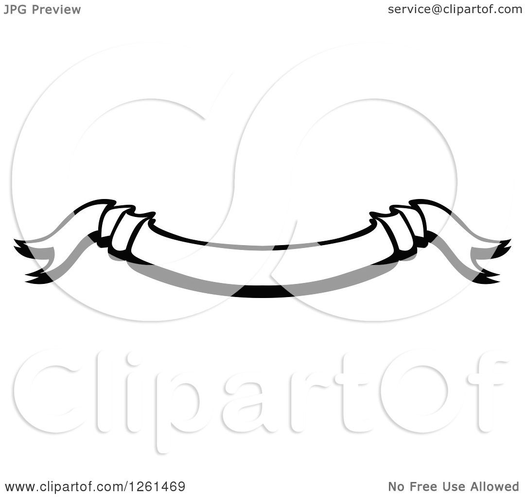 Clipart of a Black and White Curved Ribbon Banner.