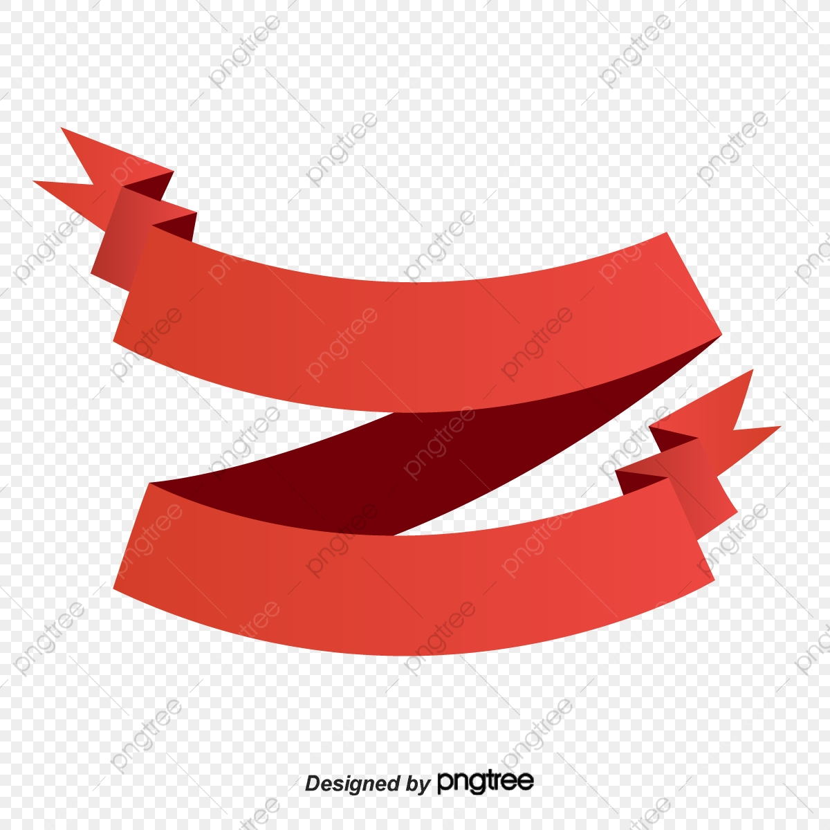 Red Curved Ribbon Commercial Banner, Banner, Ribbon Banner, The Two.