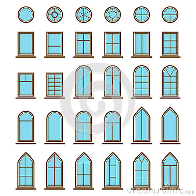 Curved Glass Facade Stock Illustrations.