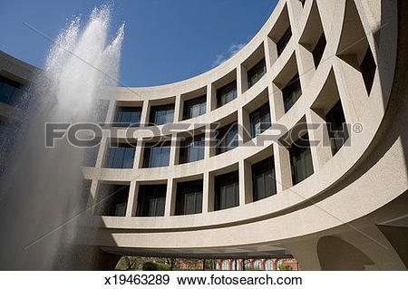 Stock Photograph of Fountain in front of curved wall of Washington.