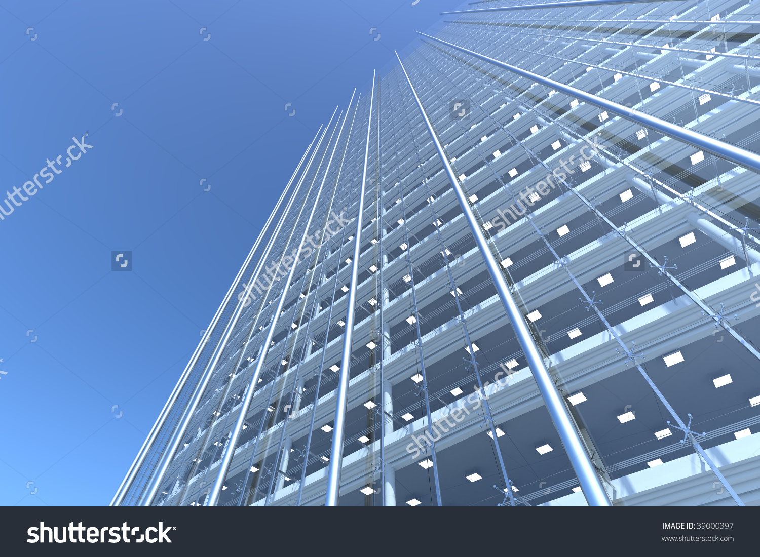Blank Curved Facade Of Glass Office Building With Reflections.