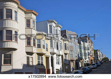 Stock Photo of Curved facades of residences on street x17502894.