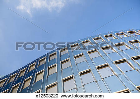 Stock Photography of Curved modern glass and steel facade.
