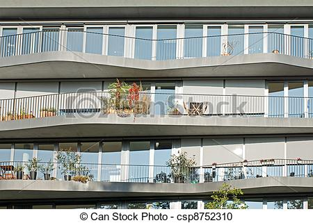 Stock Photography of Facade of some modern apartments with curved.