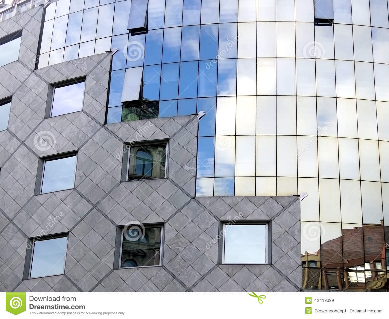 Curved Facade Of Building, Windows, Pattern Stock Photo.