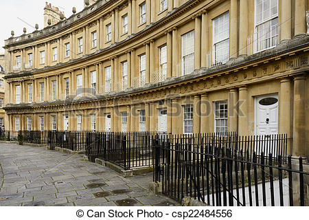 Stock Images of curved facades at the Circus crescent, Bath.