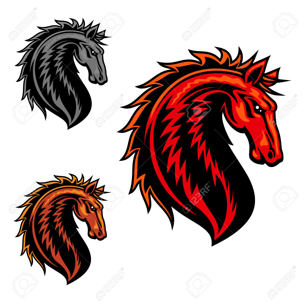 Wild Mustang Horse Mascot With Fiery Red Spiky Mane And Curved.