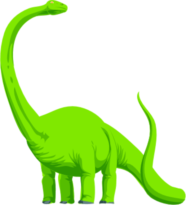 dinosaur with long curved neck.