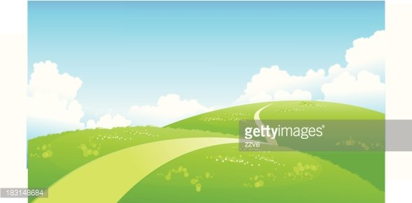 Curved path over green landscape Clipart Image.