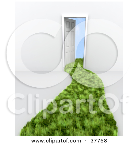 Clipart Illustration of an Open Office Door With A Privacy Window.