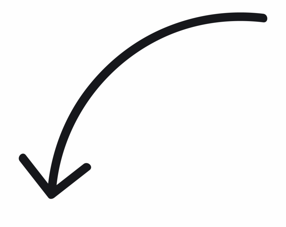 White Curved Arrow Png Hand Drawn Curved Arrow.