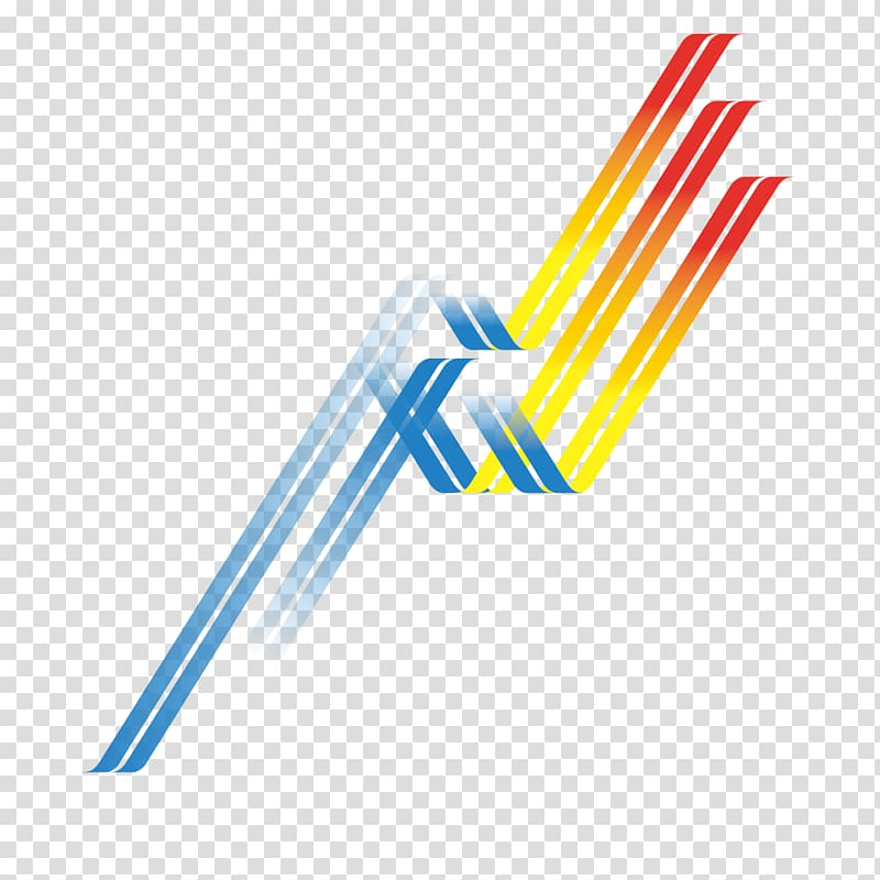 Blue, yellow, and red logo, Line Curve, Wavy lines.