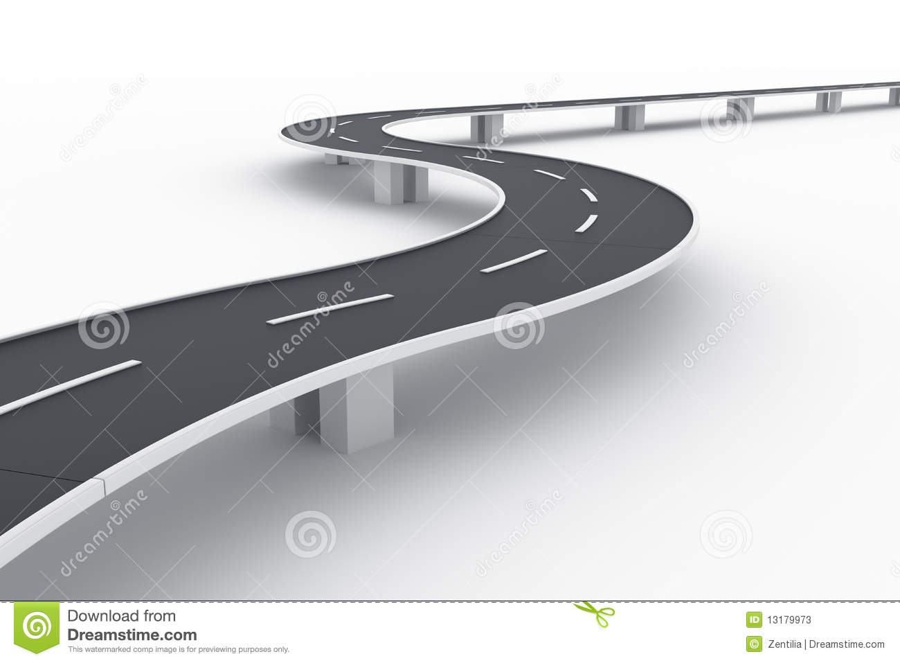 Curved Asphalt Road Stock Illustrations.