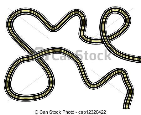 Clip Art of 3d Render of a Curving Road csp12320422.