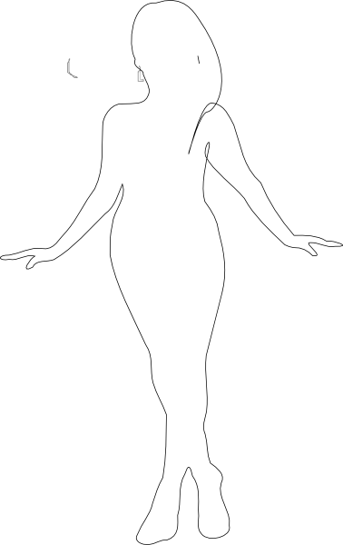 Curvy Girls Silhouette Clipart.