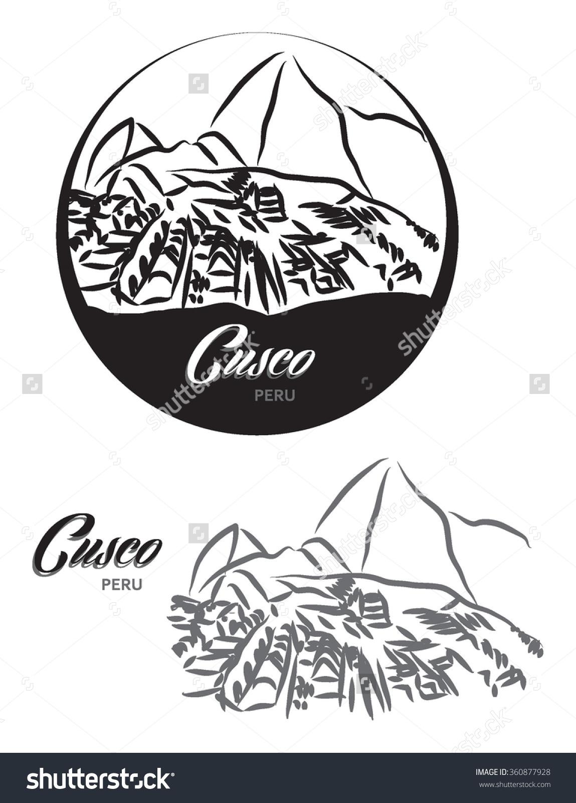 Touristic Label Cuzco Peru Illustration Stock Vector 360877928.