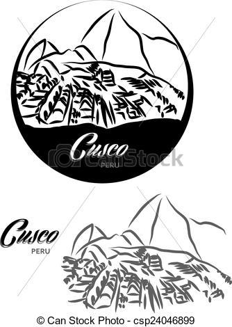 EPS Vectors of TOURISTIC LABEL Cusco Peru illustration csp24046899.