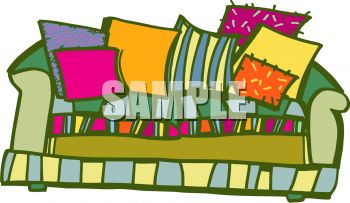 Clip Art Illustration of a Colorful Couch With Colorful Couch.