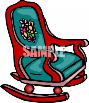 Picture of a Rocking Chair With Padded Cushions In a Vector Clip.