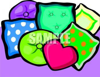 An Array of Colorful Couch Pillows On a Purple Background In a.
