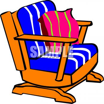 Picture of a Wooden Rocking Chair With Cushions In a Vector Clip.