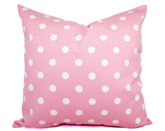 Pink white pillow.