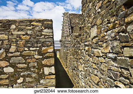 Stock Photo of Old ruins of buildings, Choquequirao, Inca, Cusco.