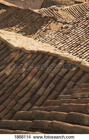 Stock Photo of tiles on a roof, cuzco (cusco), peru 1868114.