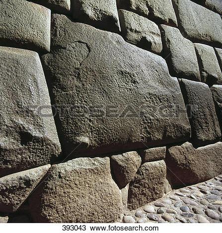 Stock Photo of Stone wall, Sacsayhuaman Incan ruins, Cusco, Peru.