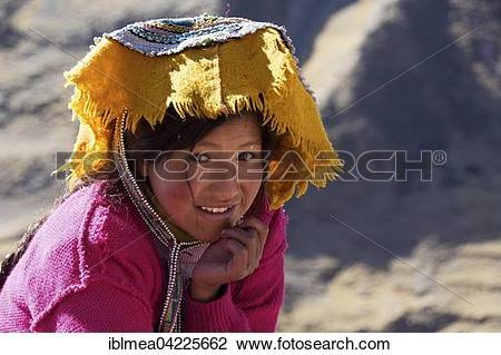 Stock Photo of Indio girl in traditional costume, portrait, Cusco.