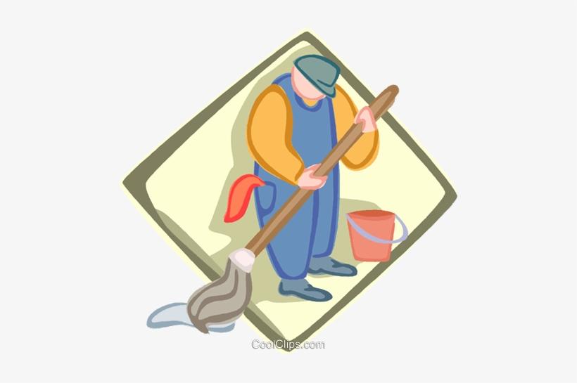 Janitor, Custodian Royalty Free Vector Clip Art Illustration.