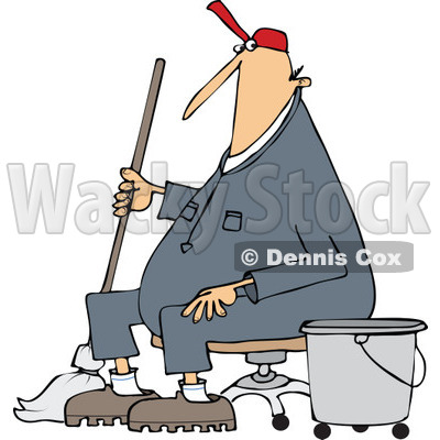 Clipart of a Cartoon White Male Custodian Janitor Taking a Break and.