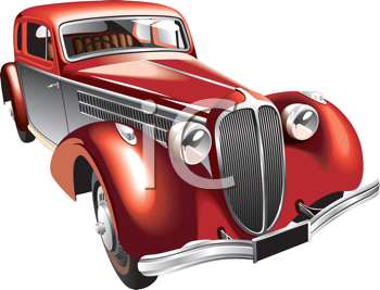 Royalty Free Clipart Image of an Old Car.