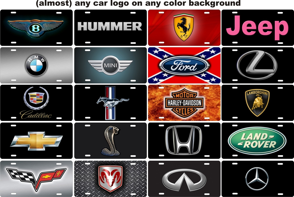 any car logo on any color background Personalized Custom Novelty License  Plate.