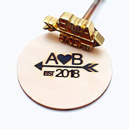 Custom Logo Wood Branding Iron,Durable Leather Branding Iron Stamp,Wood  Branding Iron/Wedding Gift,Initials with Arrow Design (3\