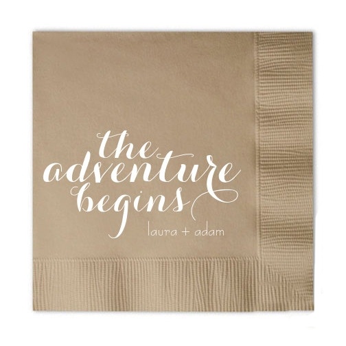 The Adventure Begins Personalized Cocktail Napkins.