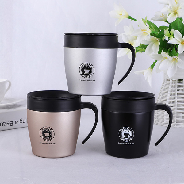 Custom Logo! Insulated Coffee Mug With Handle 304 Stainless Steel 12oz  Coffee Cup Office Water Cup With Lids Business Gift Porcelain Travel Mugs.