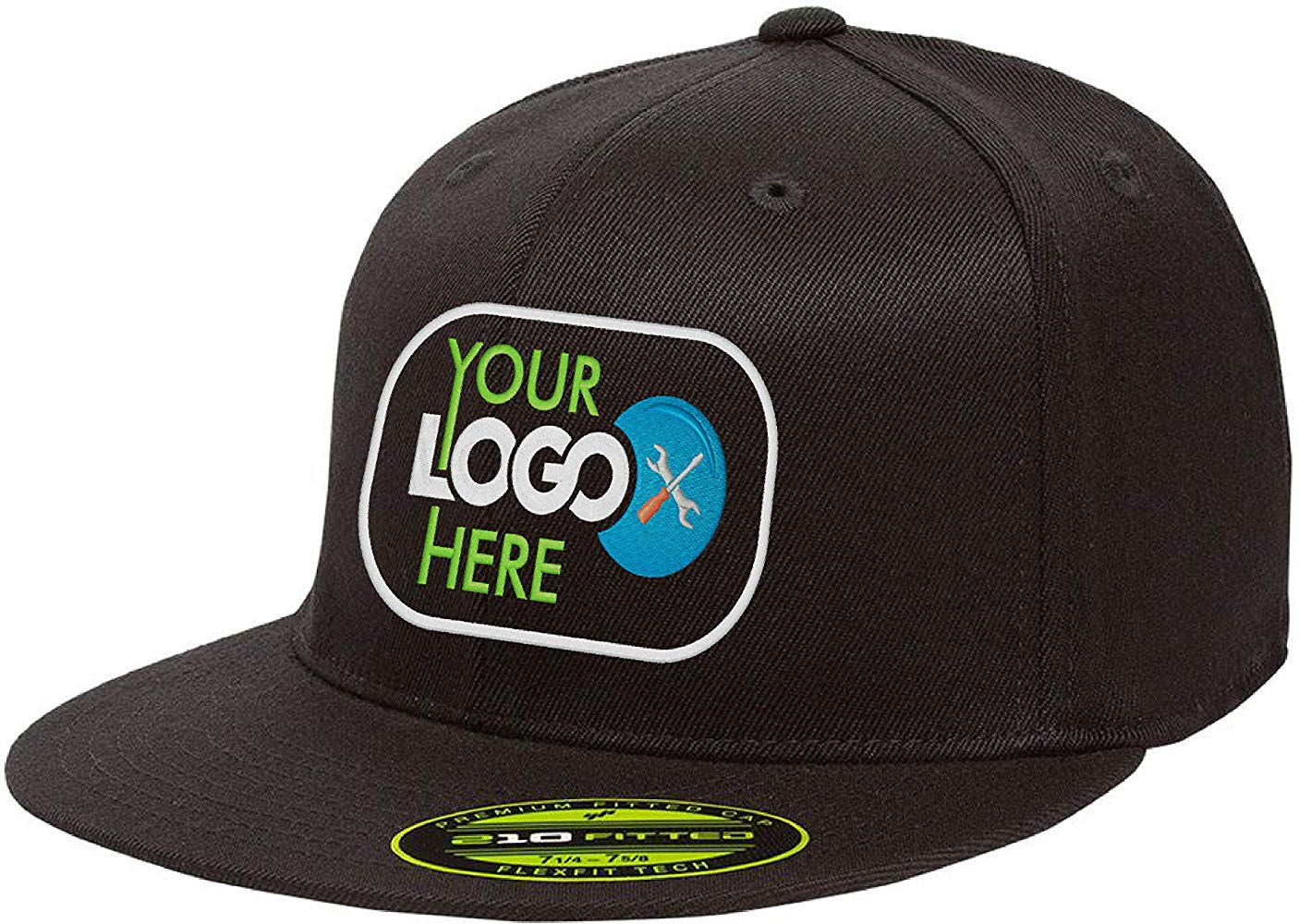 Personalized Flexfit 210 Cap. Custom Logo Hat. Embroidered. Fitted Flat Bill.