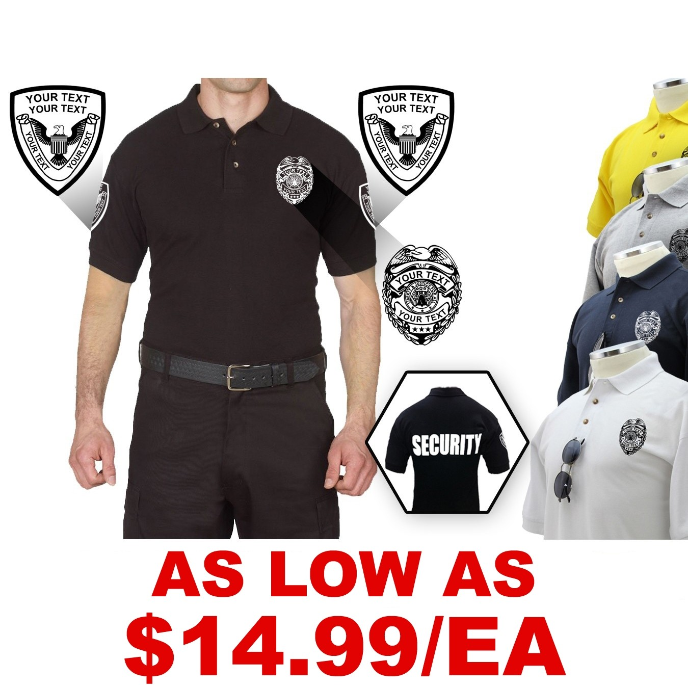 Custom Logo Poly/Cotton Tactical Short Sleeve Polo Shirts.