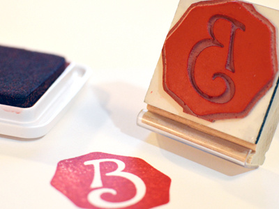 Custom B Monogram Logo Rubber Stamp by Brent Galloway on.