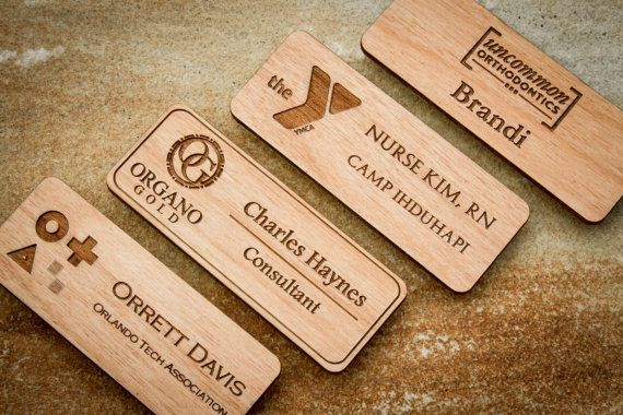 Custom Name Badges, Engraved Name Tag with Logo, Custom Logo.