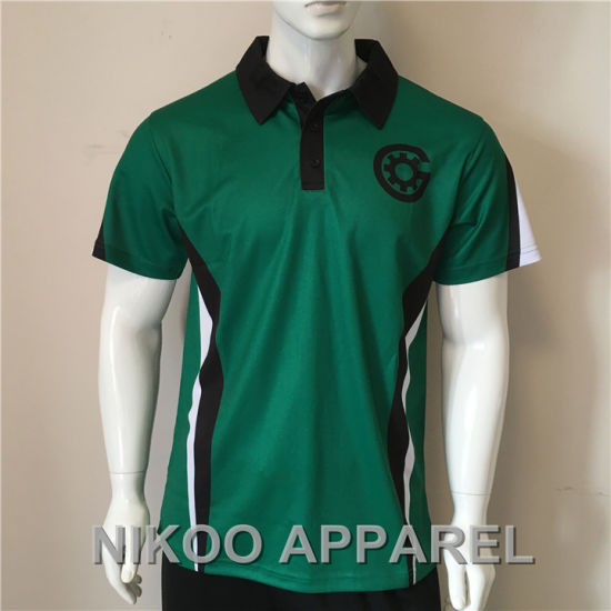 Elite Polo Shirt with Logo Custom Sublimation Printing Green.