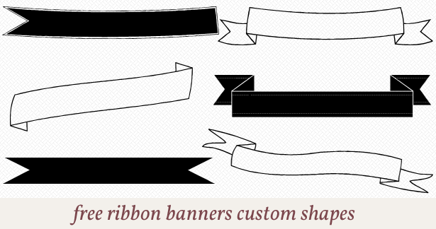 Free ribbon banners custom shapes for photoshop..