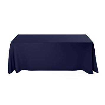 Deluxe Stretch Fit Tablecloths 6 Foot Custom Logo Available in Blue Black  Red & White (Custom, Blue).