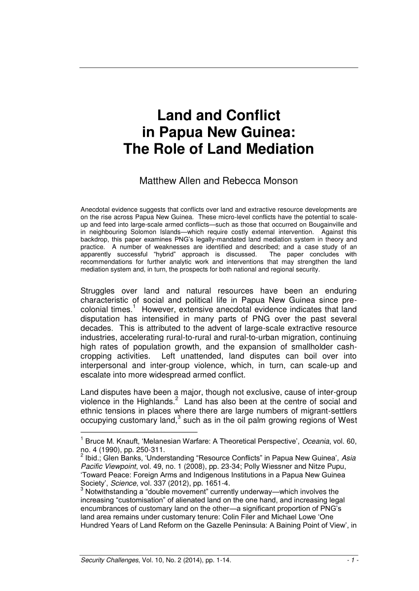PDF) Land and conflict in Papua New Guinea: the role of land mediation.