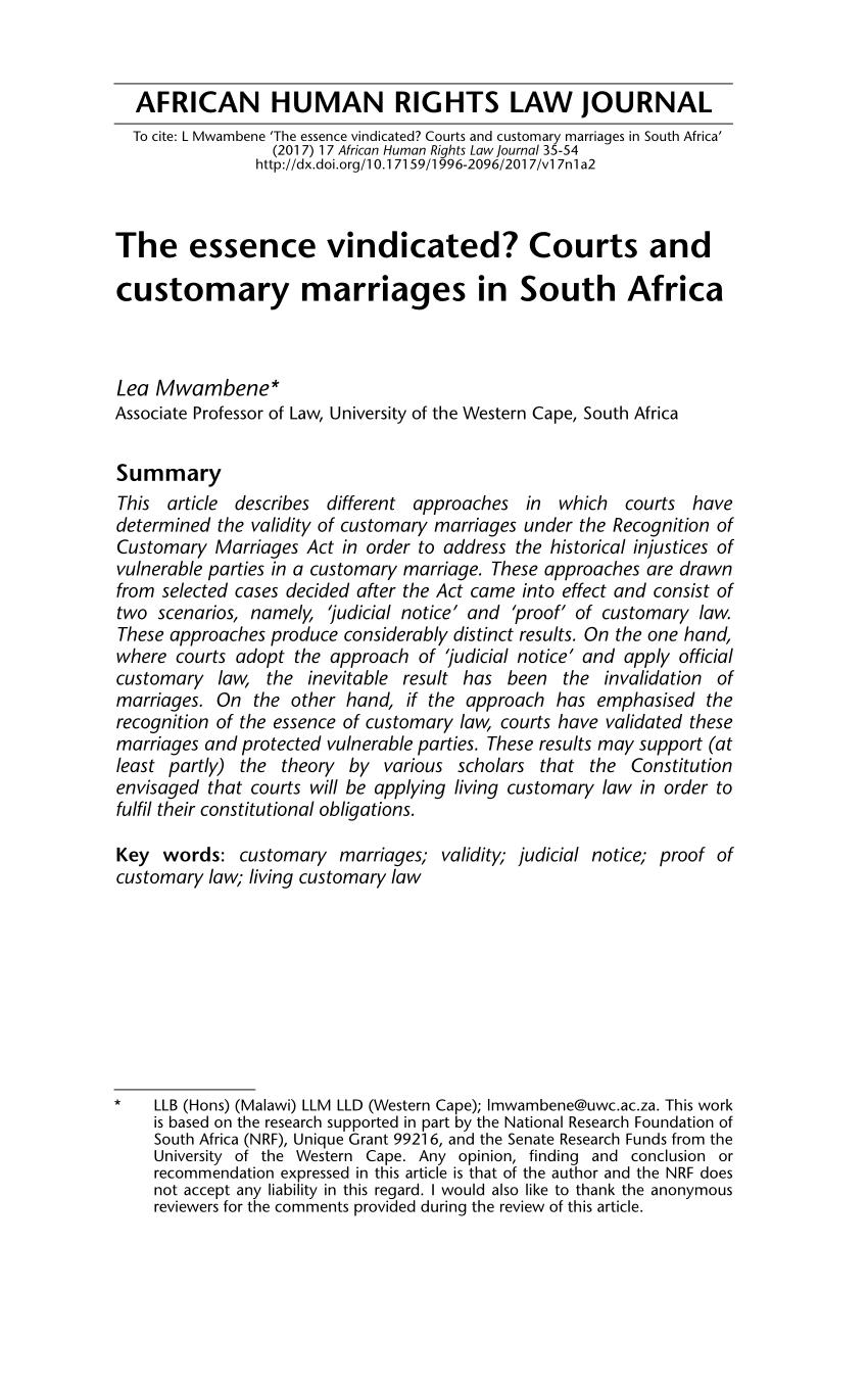 PDF) The essence vindicated? Courts and customary marriages in South.