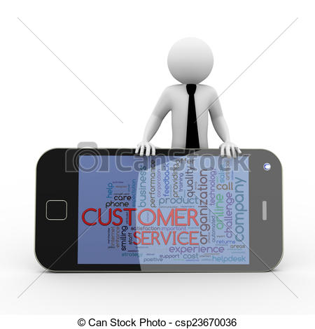 Drawings of 3d businessman customer service wordcloud mobile.