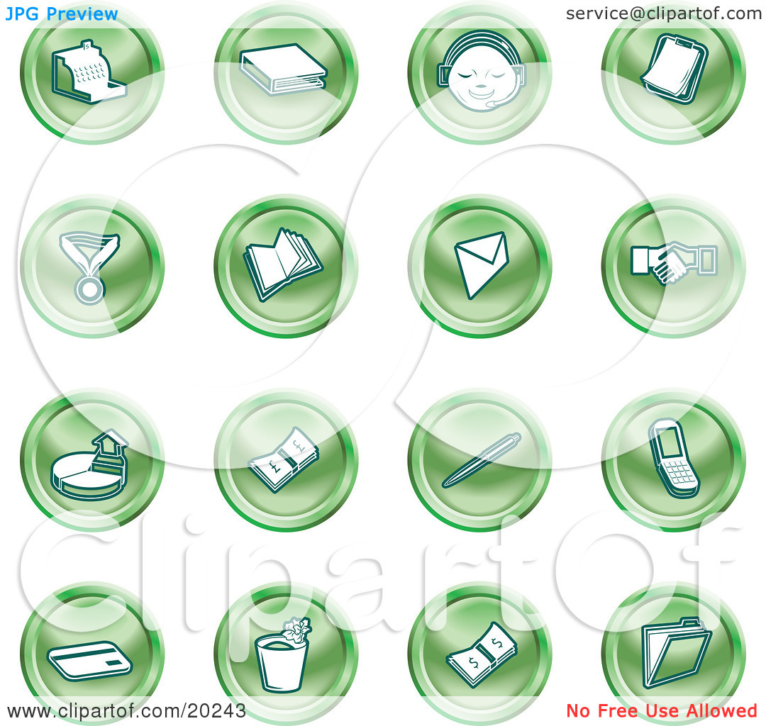 Clipart Illustration of a Collection Of Green Icons Of A Cash.