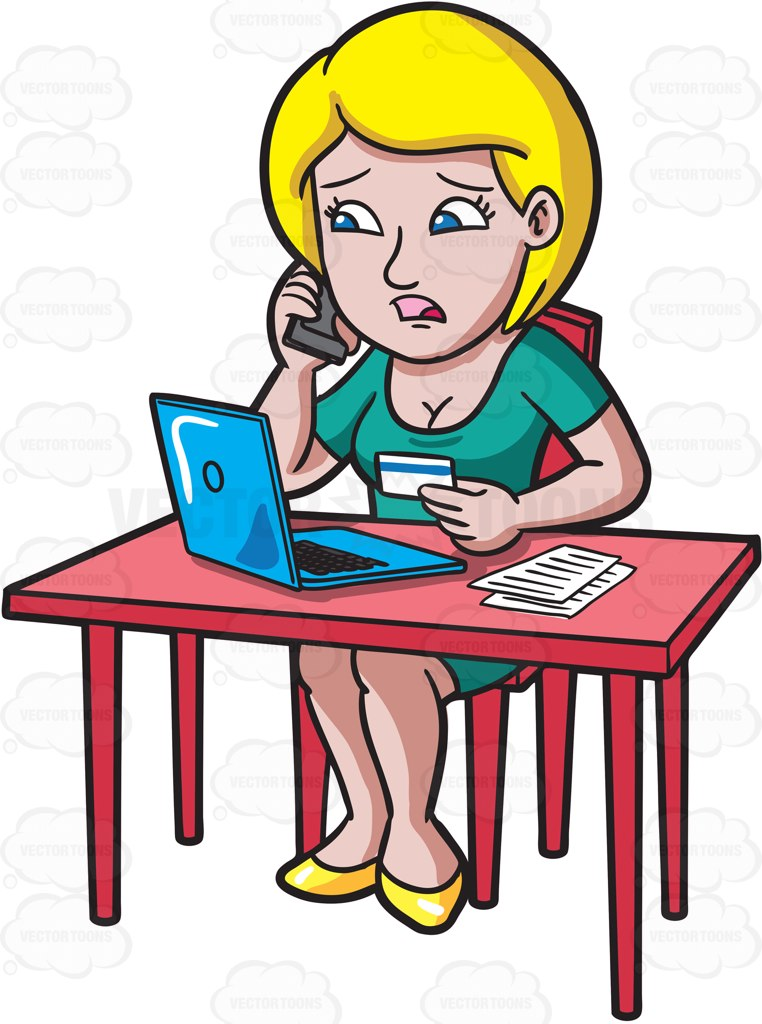 A Woman Calling Customer Service About Her Credit Card Cartoon Clipart.
