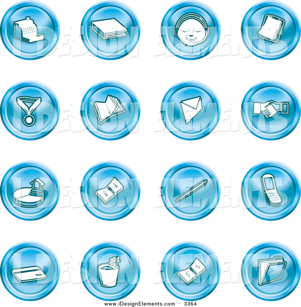 Clip Art of a Collection of Sixteen Blue Icons of a Cash Register.